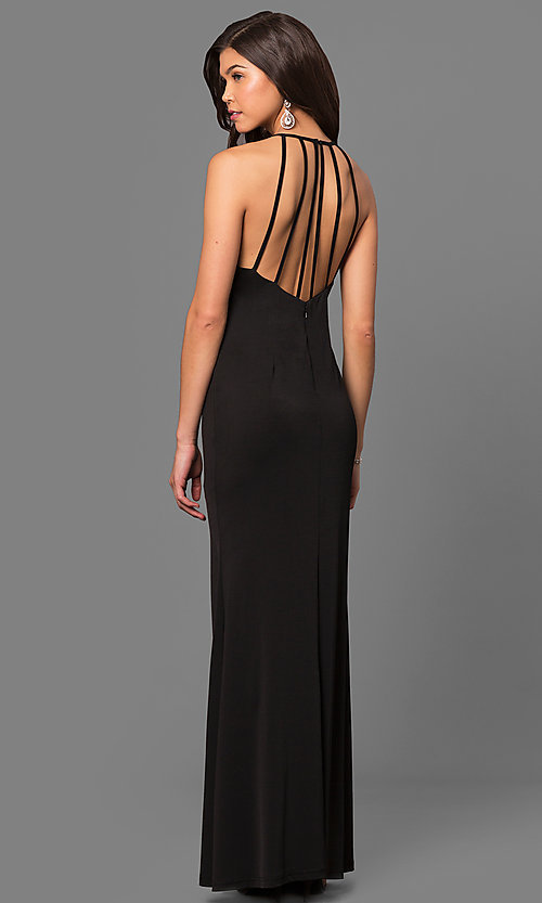 Image of keyhole high-neck long prom dress with open back. Style: MT-8180 Front Image