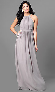 Long Prom Dress with High-Neck Ruched Bodice