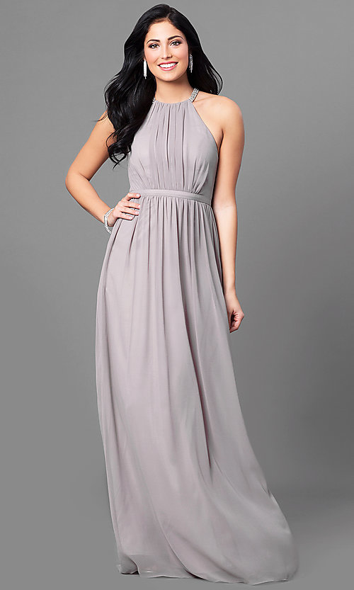 Image of long prom dress with high-neck ruched bodice. Style: MT-8169 Front Image