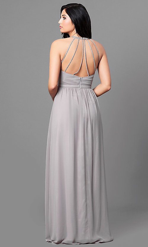 Image of long prom dress with high-neck ruched bodice. Style: MT-8169 Back Image