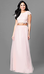 Long Two-Piece Prom Dress with Short Sleeve Lace Bodice