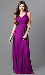 Image of long v-neck prom dress with empire waist. Style: MT-7940 Detail Image 1