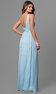 Image of long v-neck prom dress with empire waist. Style: MT-7940 Back Image
