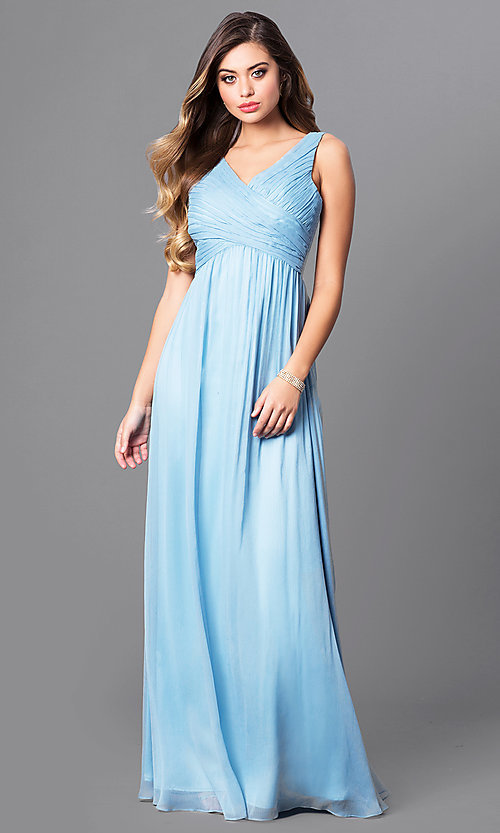 Image of long v-neck prom dress with empire waist. Style: MT-7940 Front Image