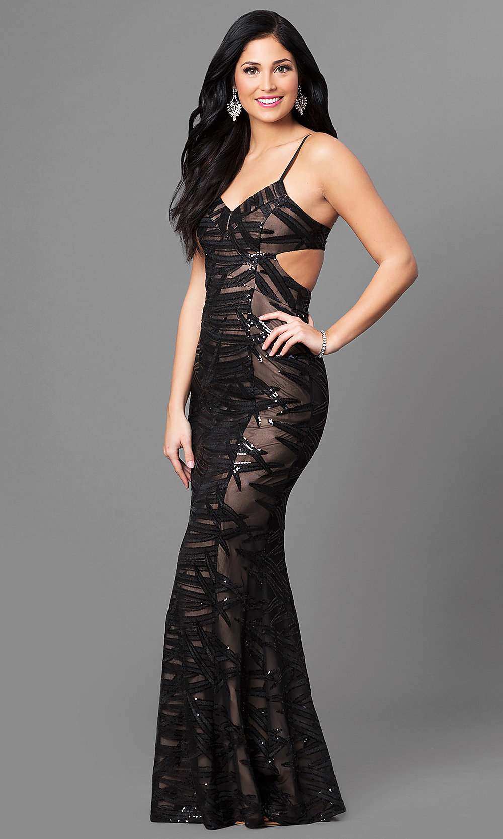 Long Black Prom Dress with Sequin Print - PromGirl