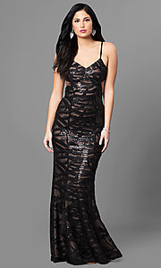 Long Black V-Neck Sequin Prom Dress with Open Back