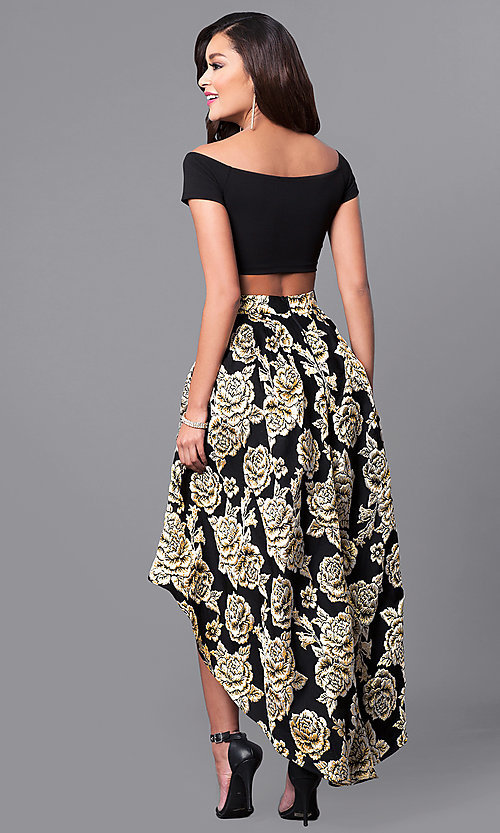 Black and Gold Two-Piece High-Low Prom Dress-PromGirl