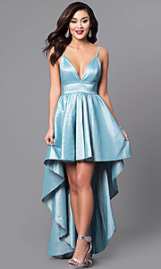 Image of high-low dusty-mint blue prom dress with v-neck. Style: SY-ID3659VP-DM Front Image