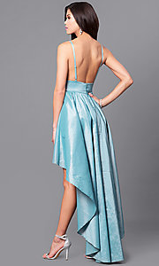 Image of high-low dusty-mint blue prom dress with v-neck. Style: SY-ID3659VP-DM Back Image