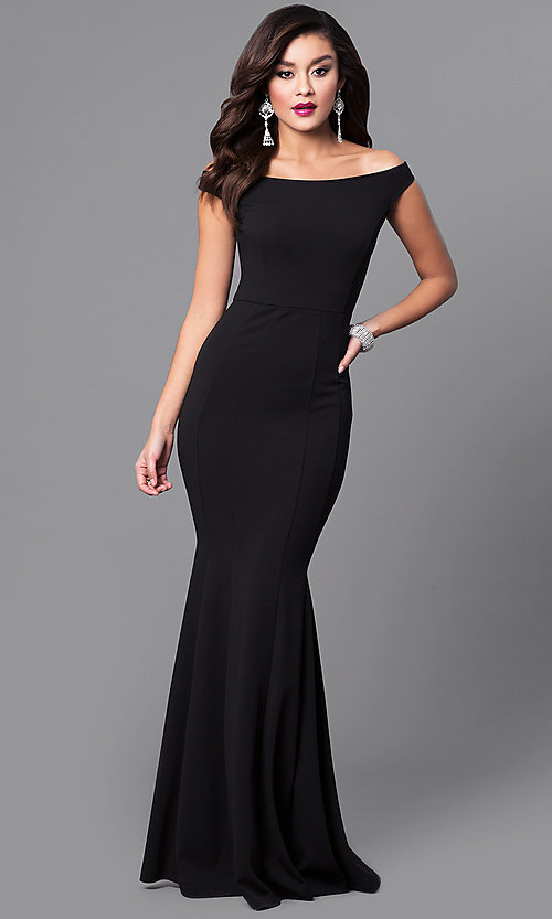 Image of black off-the-shoulder long mermaid prom dress. Style: SY-ID4188VP Front Image