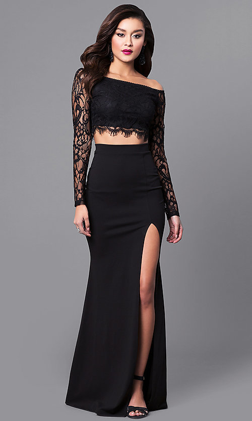 Long-Sleeve Two-Piece Black Lace Prom Dress-PromGirl