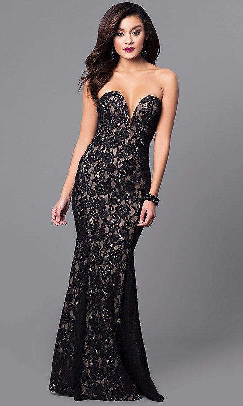 Image of long prom dress with strapless sweetheart neckline. Style: SY-ID4167VP Front Image
