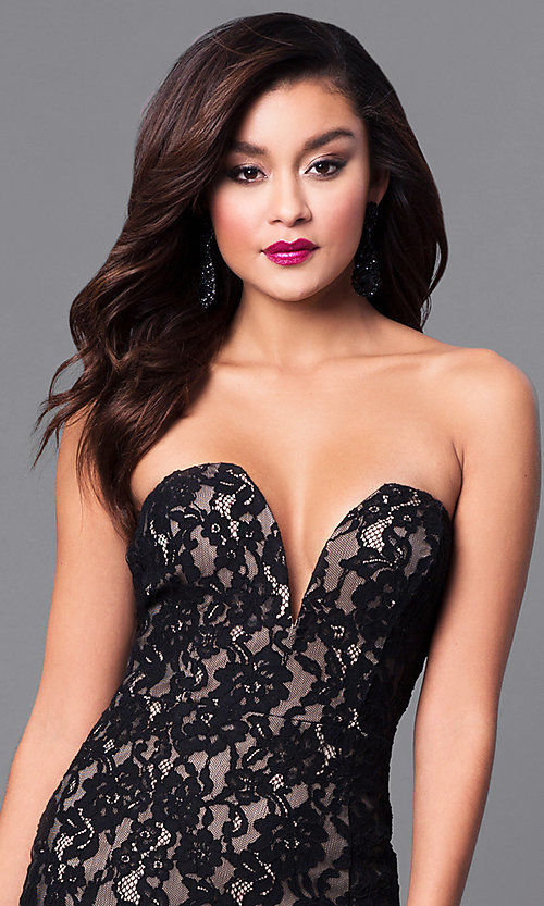 Image of long prom dress with strapless sweetheart neckline. Style: SY-ID4167VP Detail Image 1