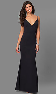 Image of v-neck long open-back prom dress. Style: SY-ID4148VY Front Image