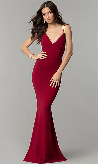 V-Neck Long Open-Back Prom Dress