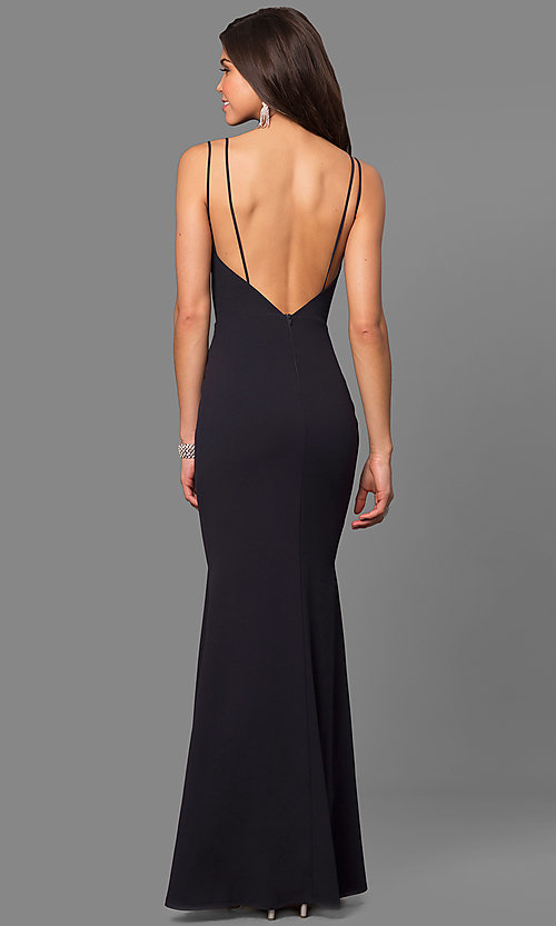 Image of v-neck long open-back prom dress. Style: SY-ID4148VY Back Image
