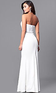 Image of strapless sweetheart long prom dress in ivory white. Style: SY-ID4129VP Back Image