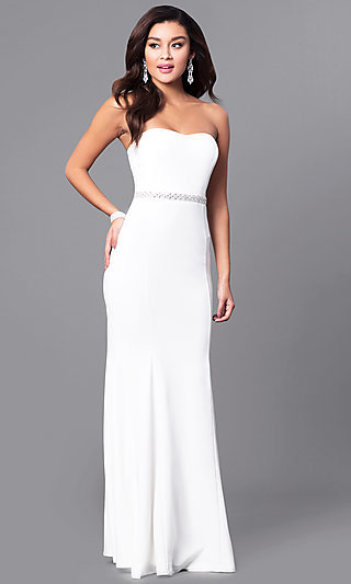 Cheap Ivory White Strapless Long Prom Dress-PromGirl