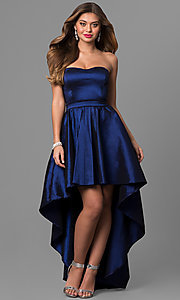 Image of strapless blue high-low prom dress in taffeta. Style: SY-ID4159VP Front Image