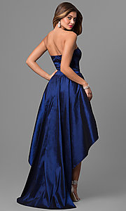 Image of strapless blue high-low prom dress in taffeta. Style: SY-ID4159VP Back Image