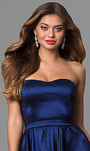 Image of strapless blue high-low prom dress in taffeta. Style: SY-ID4159VP Detail Image 1