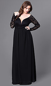 Plus-Size Long Lace-Sleeve Black Formal Prom Dress