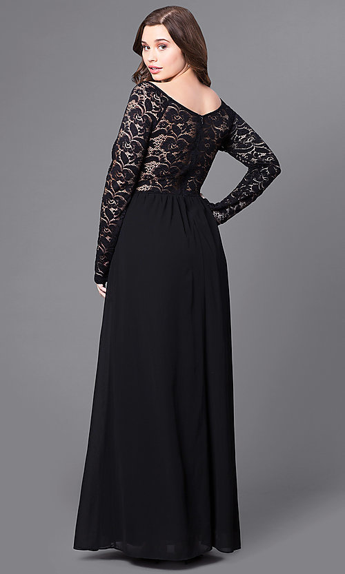 Image of plus-size long lace-sleeve black formal prom dress. Style: SY-IXD3739VP Back Image