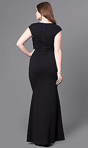 Image of long v-neck plus-size prom dress with cap sleeves. Style: SY-IXD3901EP Back Image