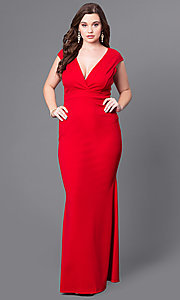 Long V-Neck Plus-Size Prom Dress with Cap Sleeves