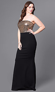 Plus-Size Black Prom Dress With Gold Sequin Bodice