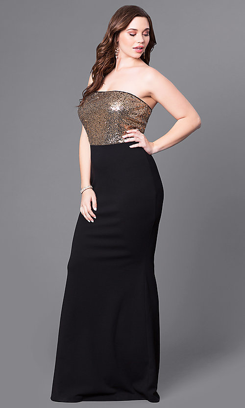 Image of plus-size black prom dress with gold sequin bodice. Style: SY-IXD4072VP Front Image
