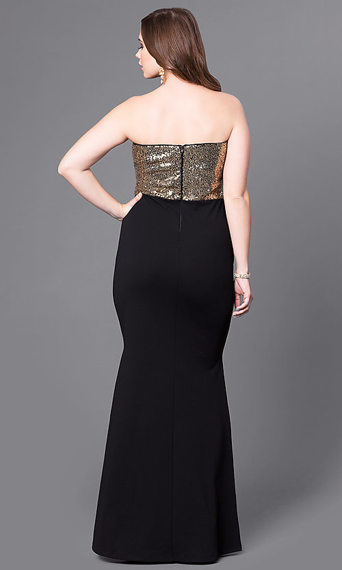 Image of plus-size black prom dress with gold sequin bodice. Style: SY-IXD4072VP Back Image