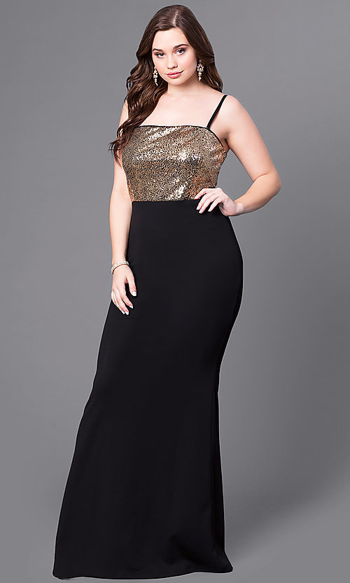 Image of plus-size black prom dress with gold sequin bodice. Style: SY-IXD4072VP Detail Image 1