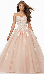 Strapless Lace and Tulle A-Line Prom Dress