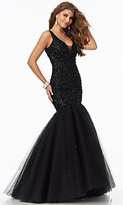 Beaded V-Neck Long Sleeveless Prom Dress