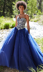 Long Beaded Ball Gown Style Strapless Prom Dress