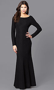 Long Black Party Dress with Long Sleeves