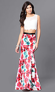 Long Two-Piece Print Skirt and Lace Top Prom Dress