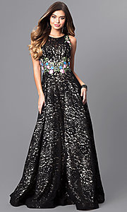 Long Lace Prom Dress with Embroidered Waistband