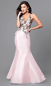 V-Neck Long Mermaid Prom Dress with Lace Applique