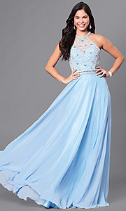 High-Neck Long Jewel-Embellished Prom Dress