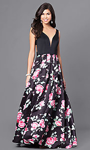 Long Sleeveless Prom Dress with Print Skirt and V-Neck