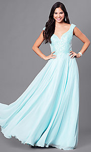 Long V-Neck Prom Dress with Beading