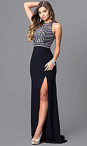 High Neck Jeweled Bodice Long Prom Dress
