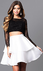Two-Piece Short Prom Dress with Lace Top