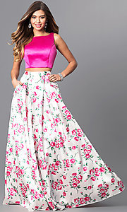 Two-Piece Prom Dress with Print Skirt and Pockets