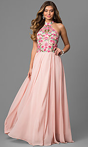 Long Halter Prom Dress with Embroidered Bodice