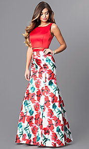 Two-Piece Long Prom Dress with Floral Print Skirt