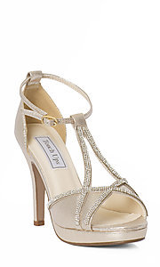 Open Toe T-Strap Prom Shoes