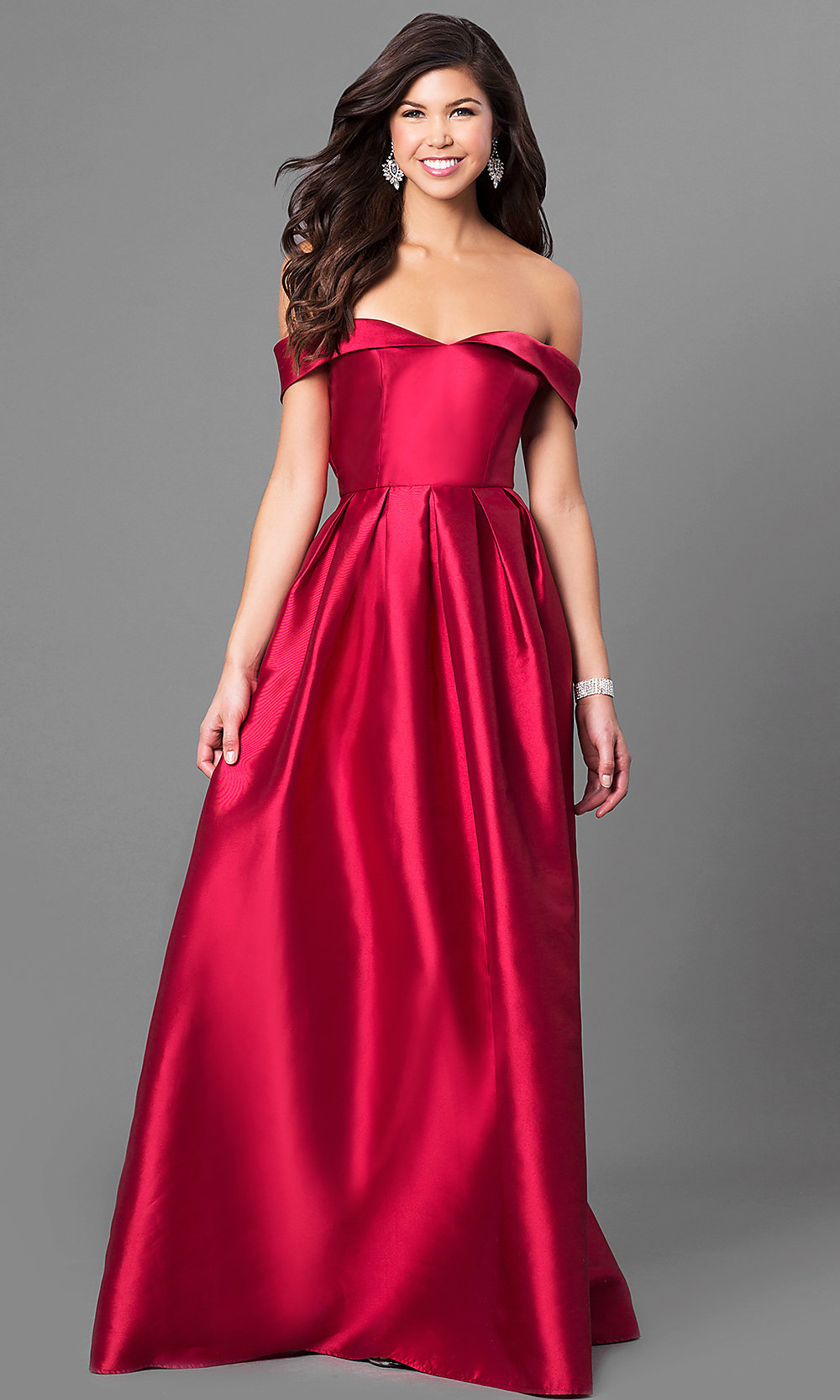 15d0419b9280 Image of off-the-shoulder long prom dress in satin. Style  LP. Tap to expand
